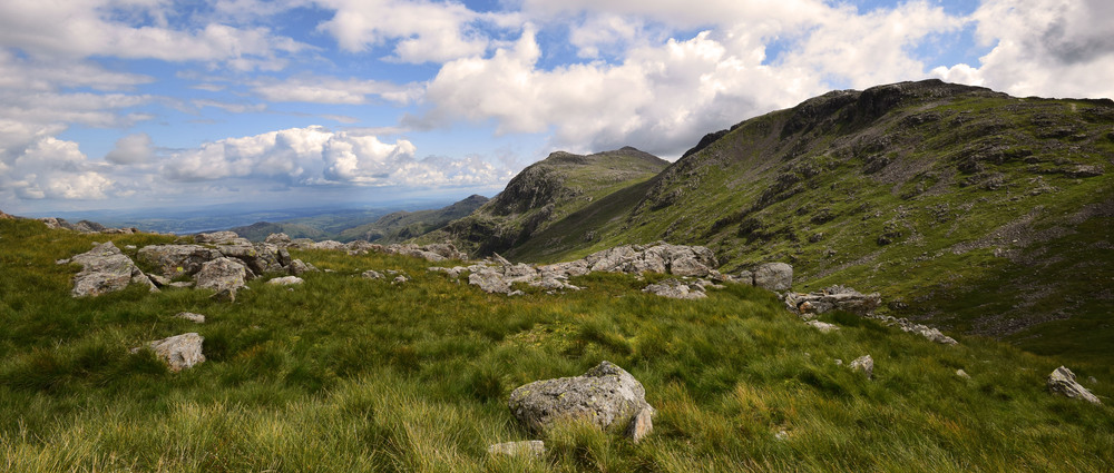 the craggier peaks of bowfell and surrounding peaks which are comprised of the harder volcanic rocks of the BVG. In the distance are the foothills of the windermere group. (R allen 2015)