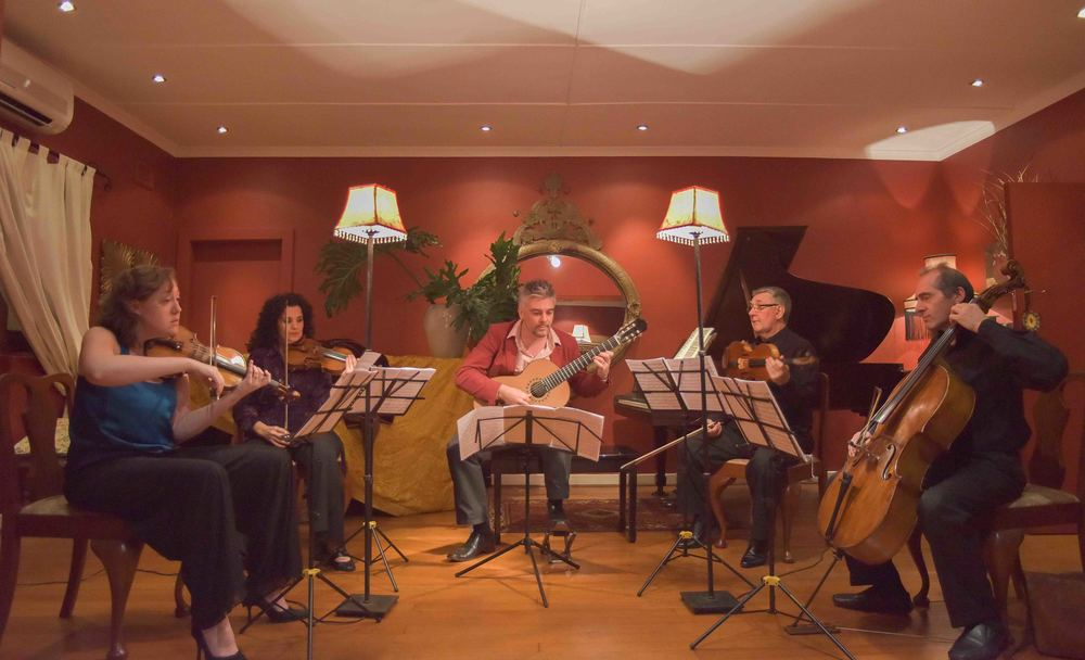 The KZN Principals String Quartet and James Grace (guitar) in concert at  the  35 Montgomery Drive Studio.