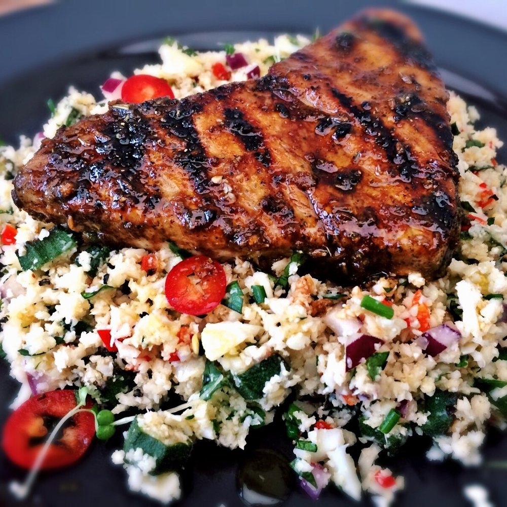 Honey Spiced Tuna with Speckled Cauliflower Couscous.jpg