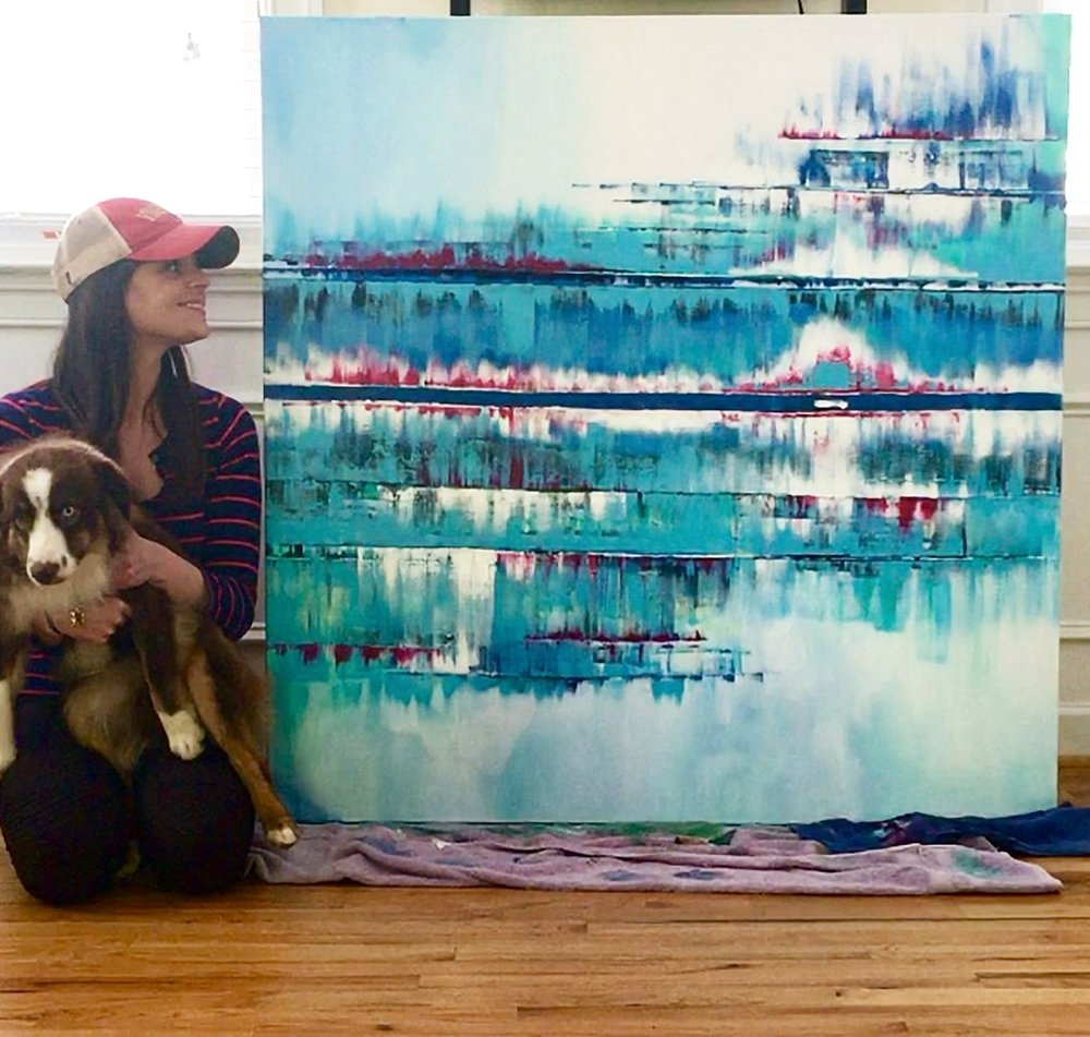 "Me, my co-worker Sawyer, & ""The Stable Song,""a painting inspired bythe music ofGregory Alan Isakov &The Colorado Symphony - completed and sold in 201848x48"" acrylic on canvas"