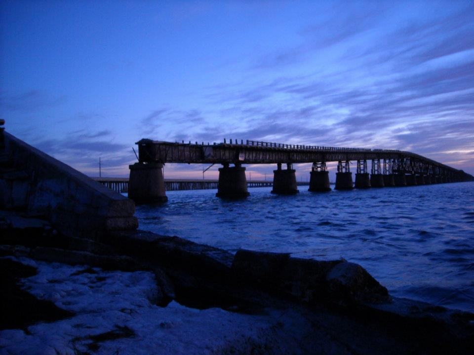 View of the western side of the abandoned Bahia Honda Railroad/Road bridge.