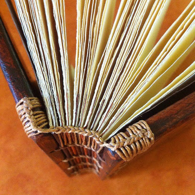 Ethiopian binding with wood covers close-up