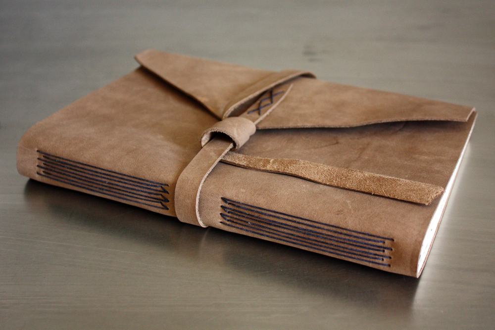 Leather longstitch book handmade by linenlaid&felt