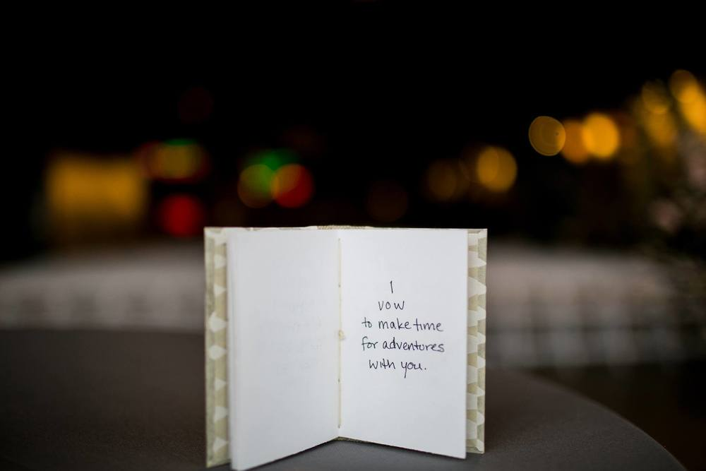A handbound book filled with wedding vows