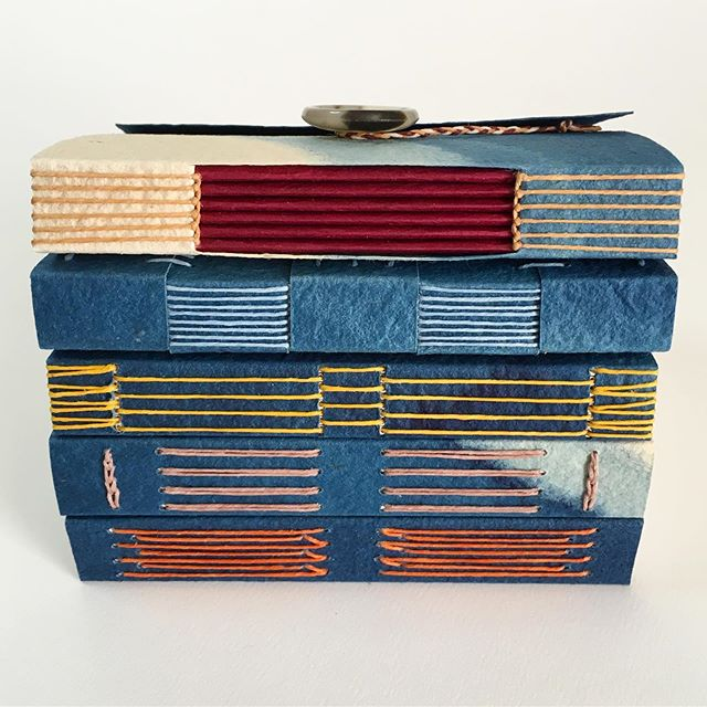 Tonight is the first night of my Miniature Exposed-Spine Bindings class at @watkinscommunityeducation, and these are just a few of the beautiful styles of handmade books that we'll be making this semester.