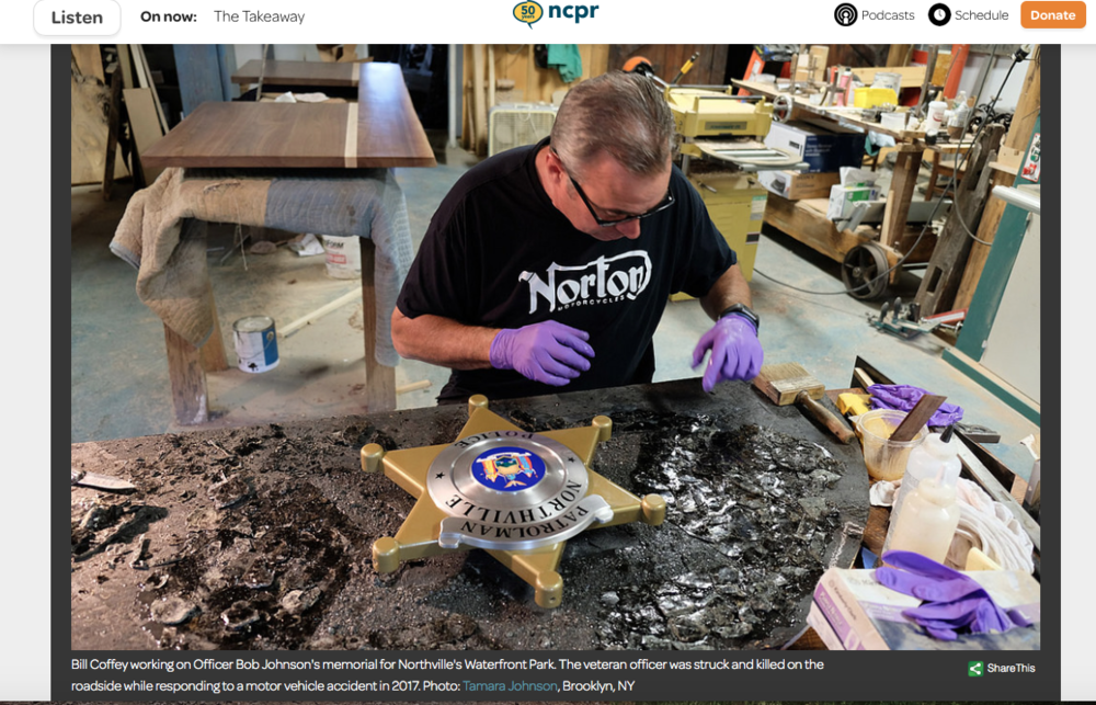 Photograph I took of woodworker Bill Coffey working on the memorial for fallen Northville Officer, Bob Johnson. Featured in North Country Public Radio's Artwork of the Day section.