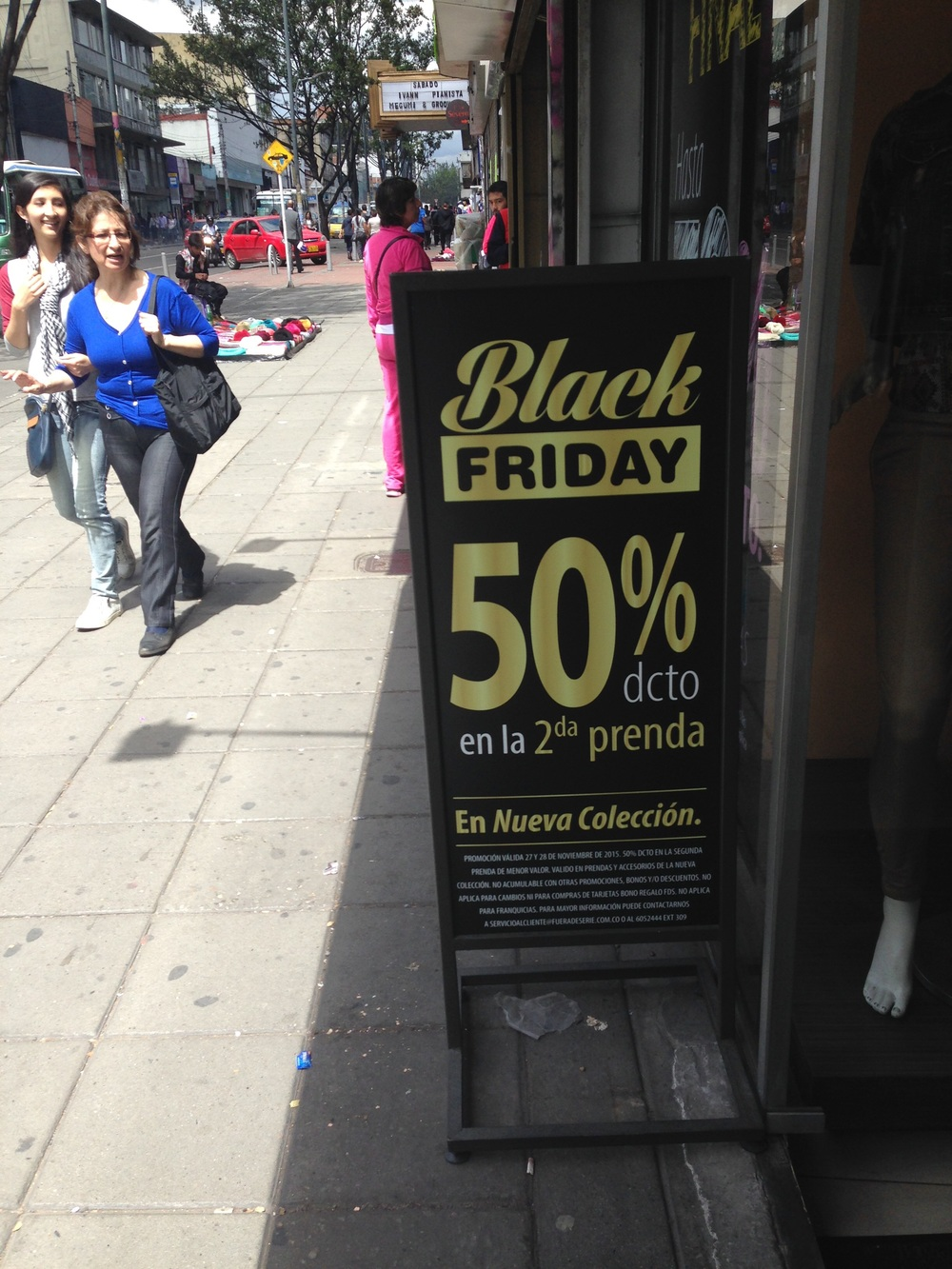 Black Friday, Colombian style (in English, no less).