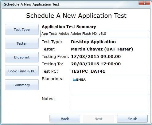 Setting up a new UAT test in AppTracker