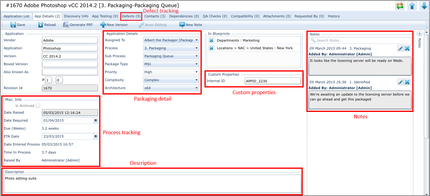 The Application Details tab in AppTracker. The packaging team record all packaging information in here.