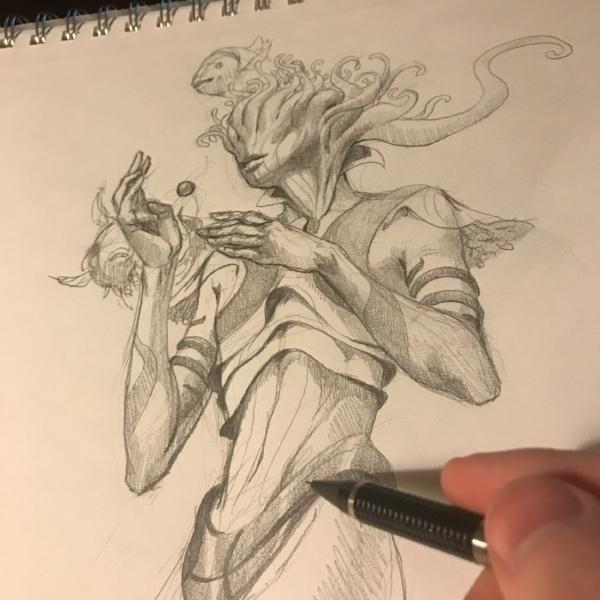 Barchiel, Angel of Pisces - Final Sketch $400.00