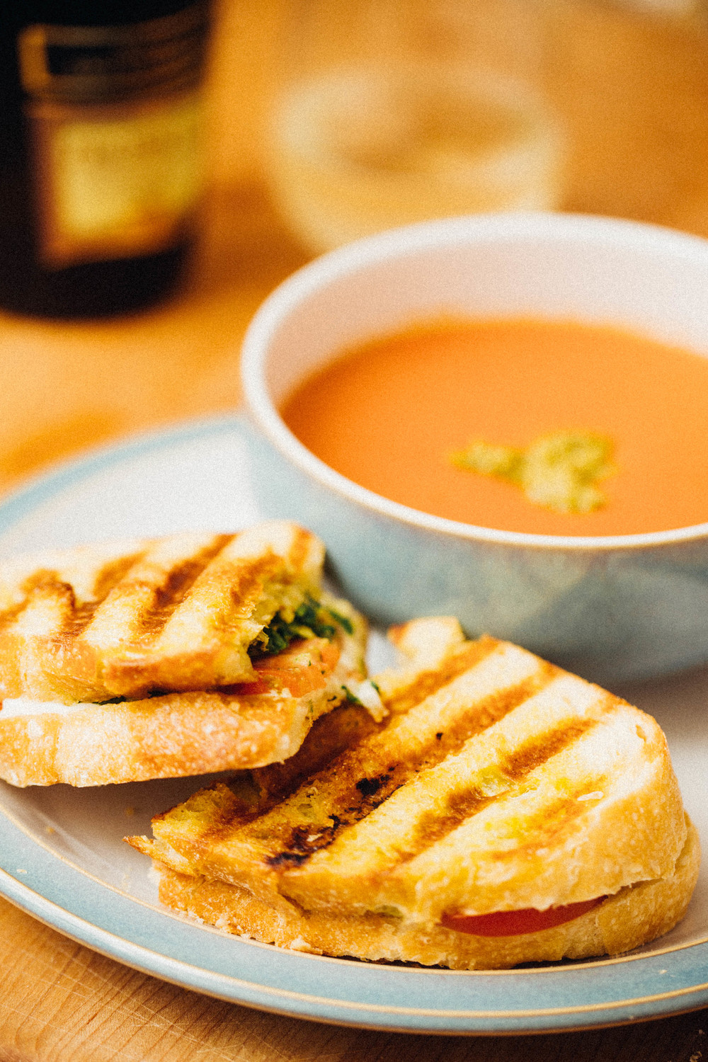 Roasted red pepper and tomato soup & tomato, kale and mozzarella sandwich with pesto