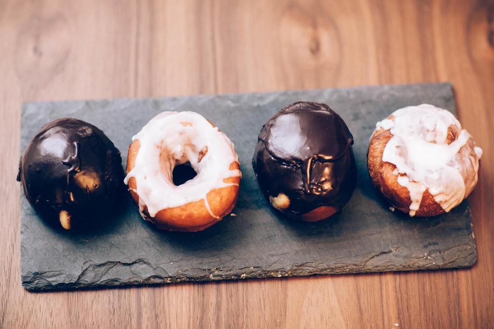 Boston cream and glazed donuts