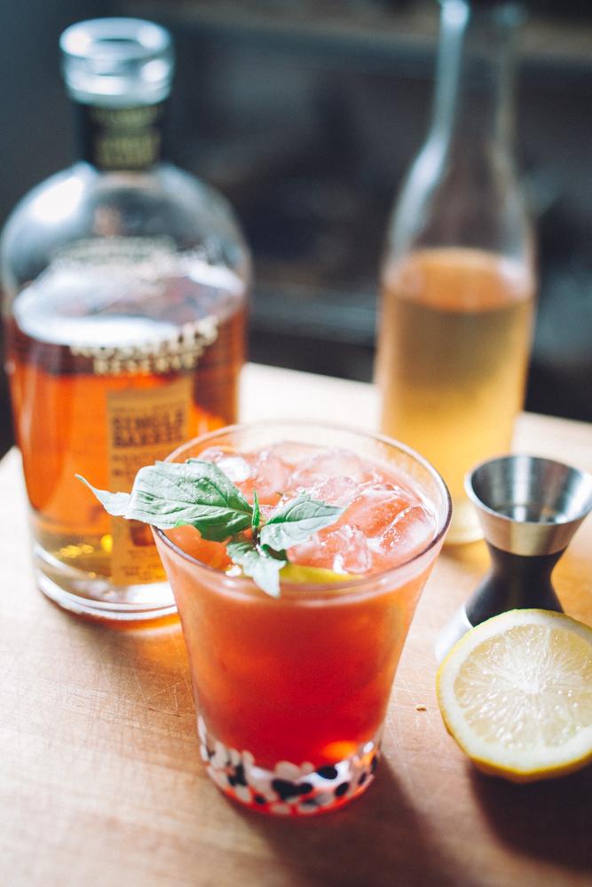 Raspberry cinnamon basil bourbon smash