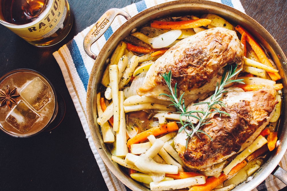 One-pan roast deviled chicken with carrots, turnips and parsnips