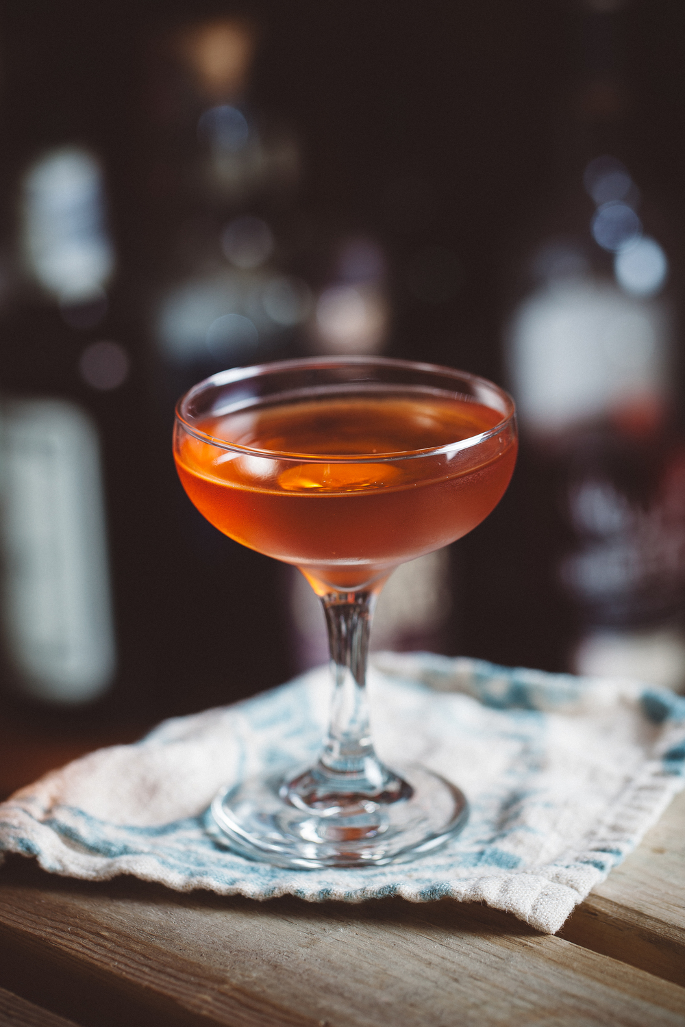 Daisy Buchannan with chamomile infused Old Overholt straight rye whiskey, Aperol, Dolin dry vermouth and Yellow Chartreuse.