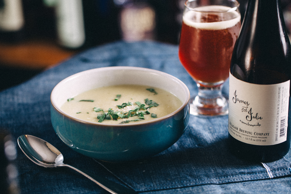 Leek and potato soup paired with a James and Julie sour brown ale from Allagash Brewing in Portland, ME.