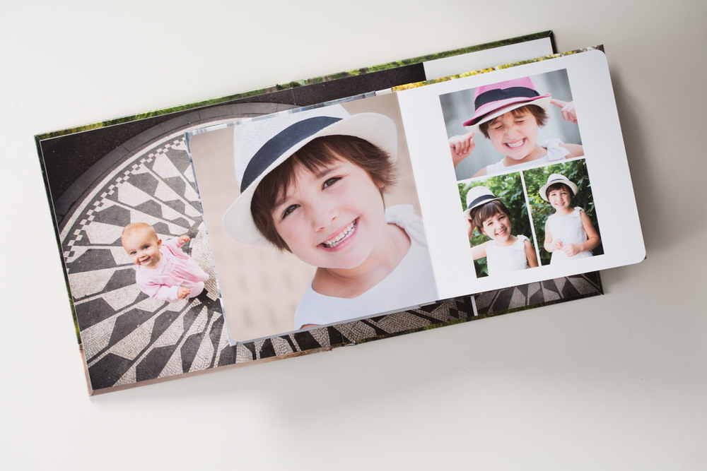 Custom designed layouts in books and albums using your favorite images