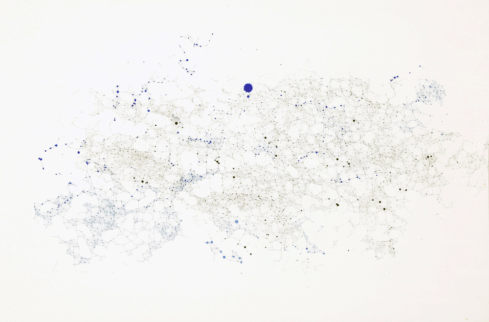 Connection by proximity  2014. Ink, color pencil, and pencil on paper. 60 x 90 cm