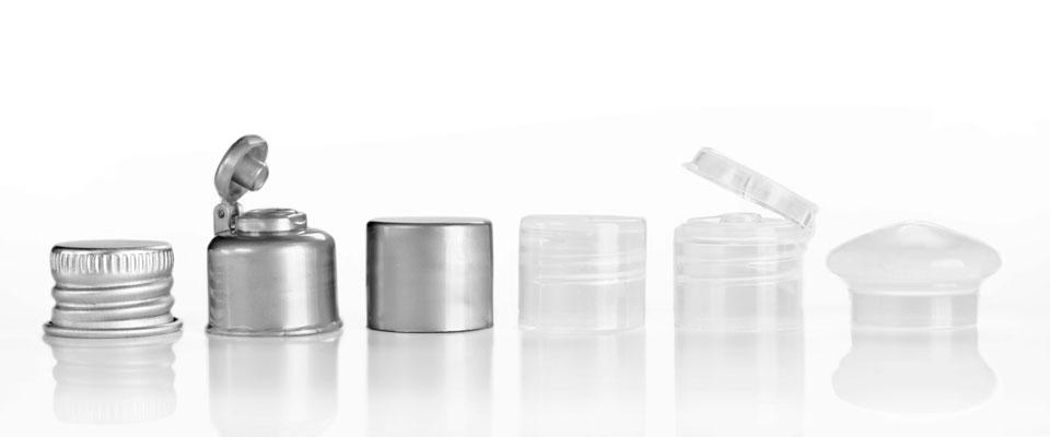 De izquierda a derecha:  Metálica  /  Flip Top plateada  /  Lisa plateada  /  Lisa natural  /   Flip Top natural   /   Hongo