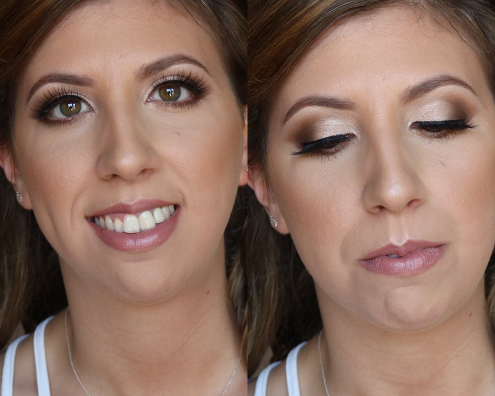 Glam Bridal Package - Trial: $110.00 (All trials are done in my in-home studio in Sparta, NJ) -1 hr 30 minWedding Day Makeup: $170 - 1 hourThis look is perfect for any makeup lover and for those that want their eyes to POP, and skin to be flawless on their wedding day! This look is a step up from the classic package and is more sultry and smokey. It looks AMAZING in photos. This look is achieved with full coverage HD foundation, highlight & contour, eye shadow, liner, lips and Mink false lashes. These lashes can be worn up to 15 times, and have a fluffier look than regular false lashes. This bridal package also includes; a full size lipstick or gloss, collagen under eye patches that will hydrate and smooth the under eye area while I am doing the eye makeup, plus blotting sheets that you can use to touch up with the day of the wedding.