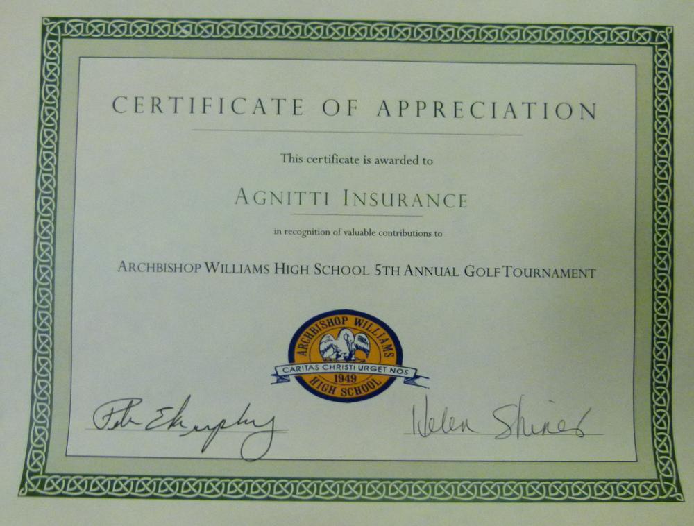 Agnitti-Insurance-Certificate-of-Appreciation-Archbishop-williams