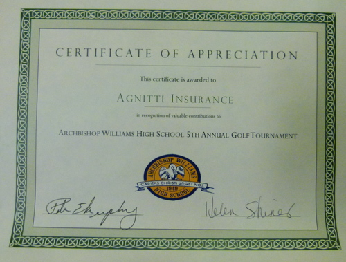 meet tony agnitti insurance  agnitti insurance certificate of appreciation archbishop williams