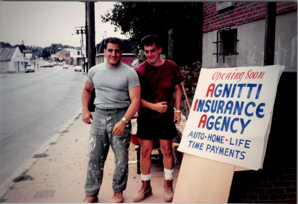 Tony and his brother building Agnitti Insurance brick by brick!