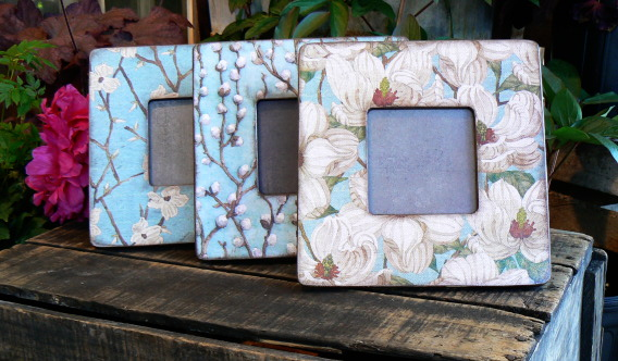 Three decorative picture frames in vintage patterns by Brooke Albanese.