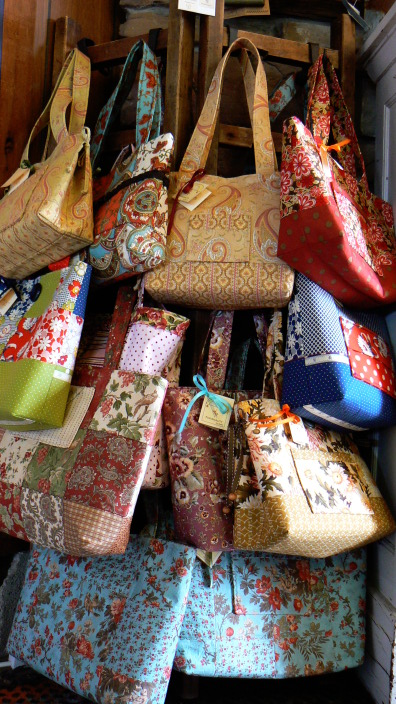 Colorful quilted purses made in Barre, NY.
