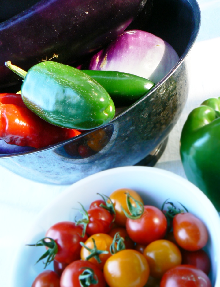 Hot peppers, eggplant, cherry tomatoes, and sweet pepper combine for a beautiful palette of summer color!
