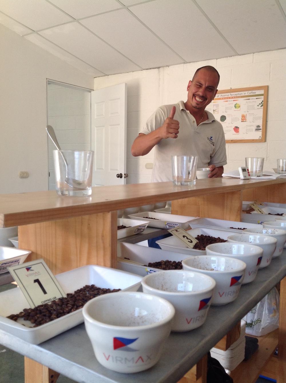 Hugo Lopez, cupping deliveries at Beneficio Montecristo in Metapan, El Salvador