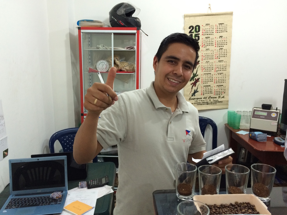 Yonger Chaux, the Virmax quality analyst in La Plata, Huila