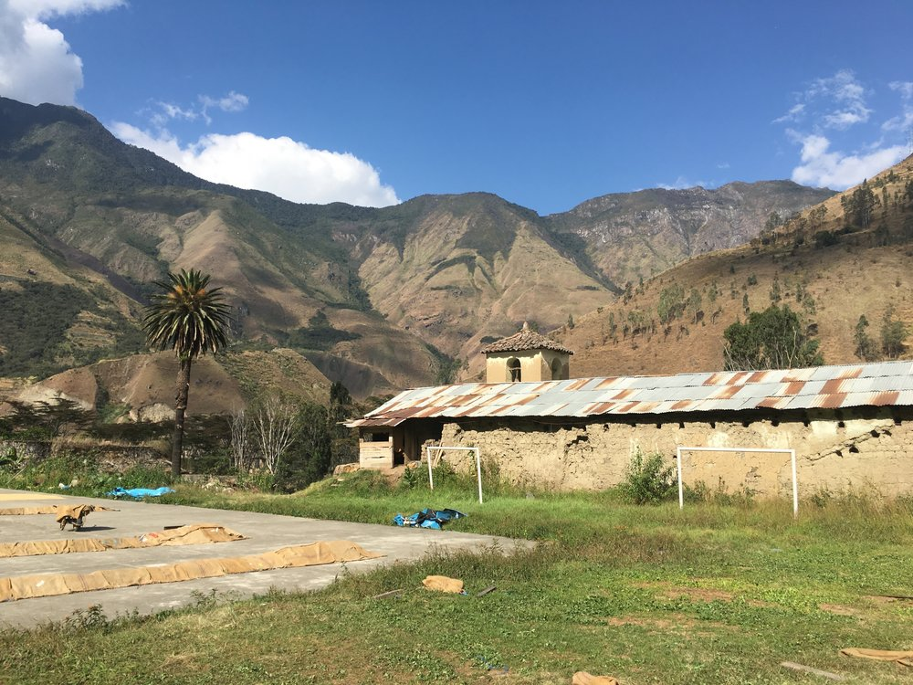 Drying patio of the Huadquiña Cooperative, coffee covered with jute bags during mid-day. (Santa Teresa, Cusco. Photo credit: Benjamin Schweizer)