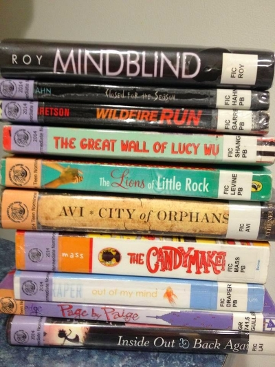 Every year, Connecticut nominates 10 books per category (high school, teen, intermediate, and elementary) for kids to read and vote on for the Nutmeg Award . I run a reading program called Team Nutmeg and I host a voting breakfast for kids who have read six or more. Here's a stack of Nutmeg books.
