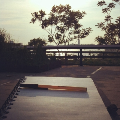 Lindsey Wojcik's writing spot on the High Line in New York City.