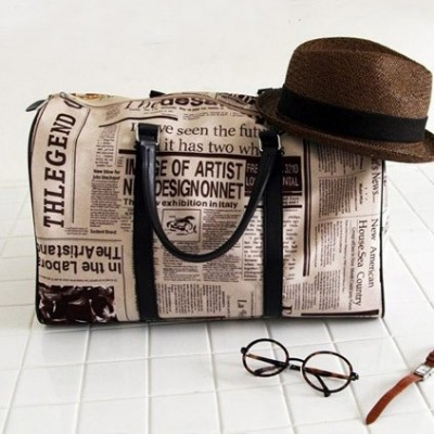 Newspaper Print Oversized Handbag