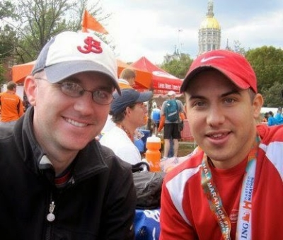 Readers with wheels. My older brother Tom and I following the Hartford Half Marathon in 2010.