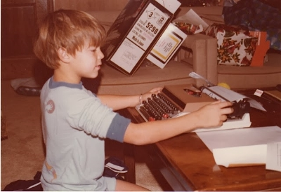 Derek Haas writing stories in his youth (  Photo credit: Molly McCoy).