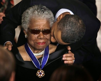 Angelou being awarded the Medal of Freedom by President Obama.