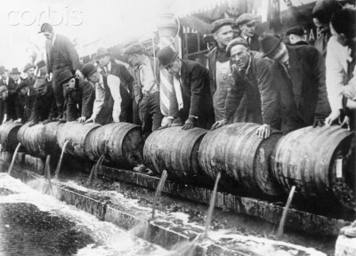 Beer filling the streets during Prohibition