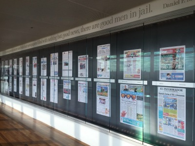 A collection featuring newspapers from various states and countries at the Newseum in Washington, D.C.