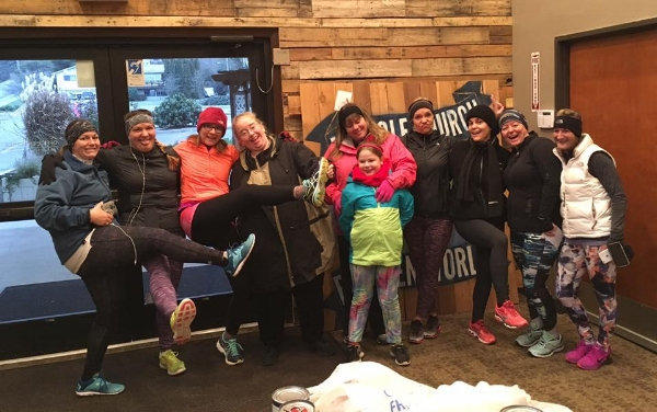 Foothills women encouraging each other to run on a recent morning in January.
