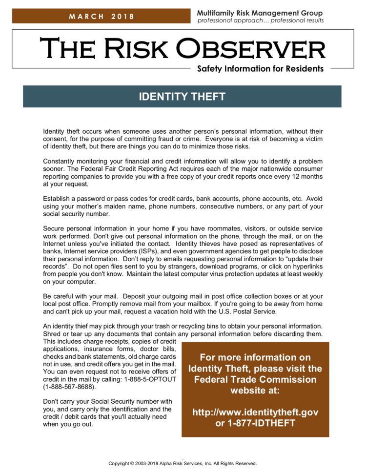 Identity Theft — P³ Insurance Services, Inc.