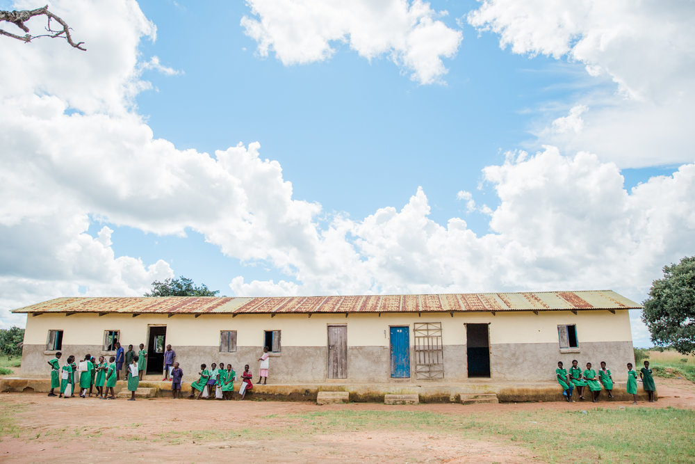 The school house in Chileshya, Zambia.  Different parts of the day and/or different days were dedicated to different age groups.  Not all children attend school at the same time.
