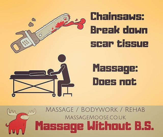 Looooooove massage.  Won't tolerate quackery, neither should you. 🦆  Scar tissue is tough.  Really, really tough.  A thumb, palm or elbow cannot generate enough down-force to deform it much less break it down.  Especially though skin, fat, muscles, fascia, blood vessels etc.  If it could, it would hurt like hell, and damage everything else around it.  https://www.massagemoose.co.uk/ Like massage, but smarter. #EvidenceEnthusiast #NoBSpolicy