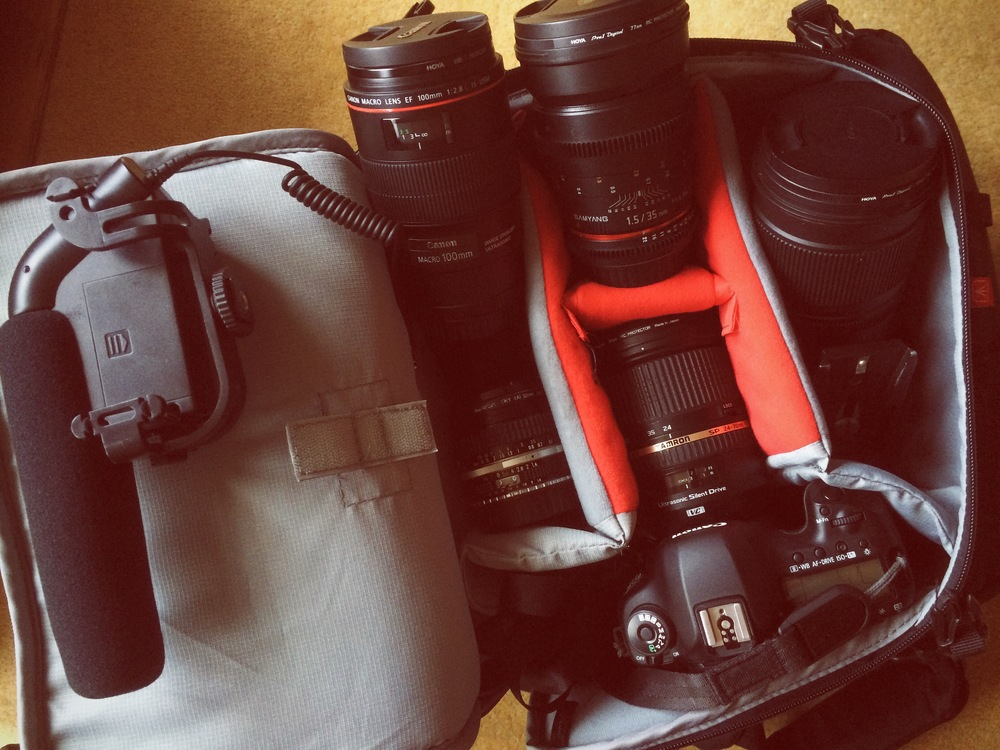 Chosen equipment for filming a funky wedding - Canon 5D plus a range of fast zooms and primes. Not to forget audio!