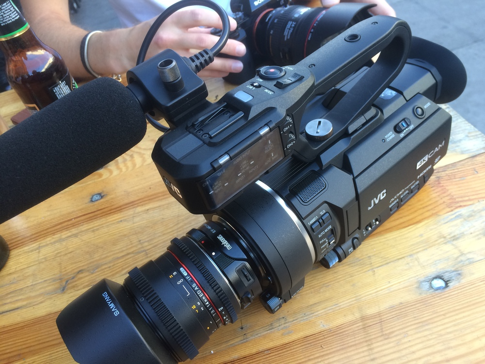 The LS300 with Samyang 14mm T/3.1, which on this camera equates to around 20mm.