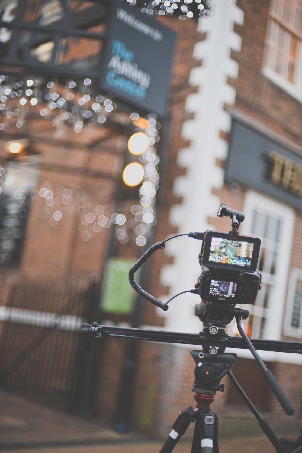 Canon 5D mk III and Atomos Ninja Blade on the slider and Manfrotto tripod