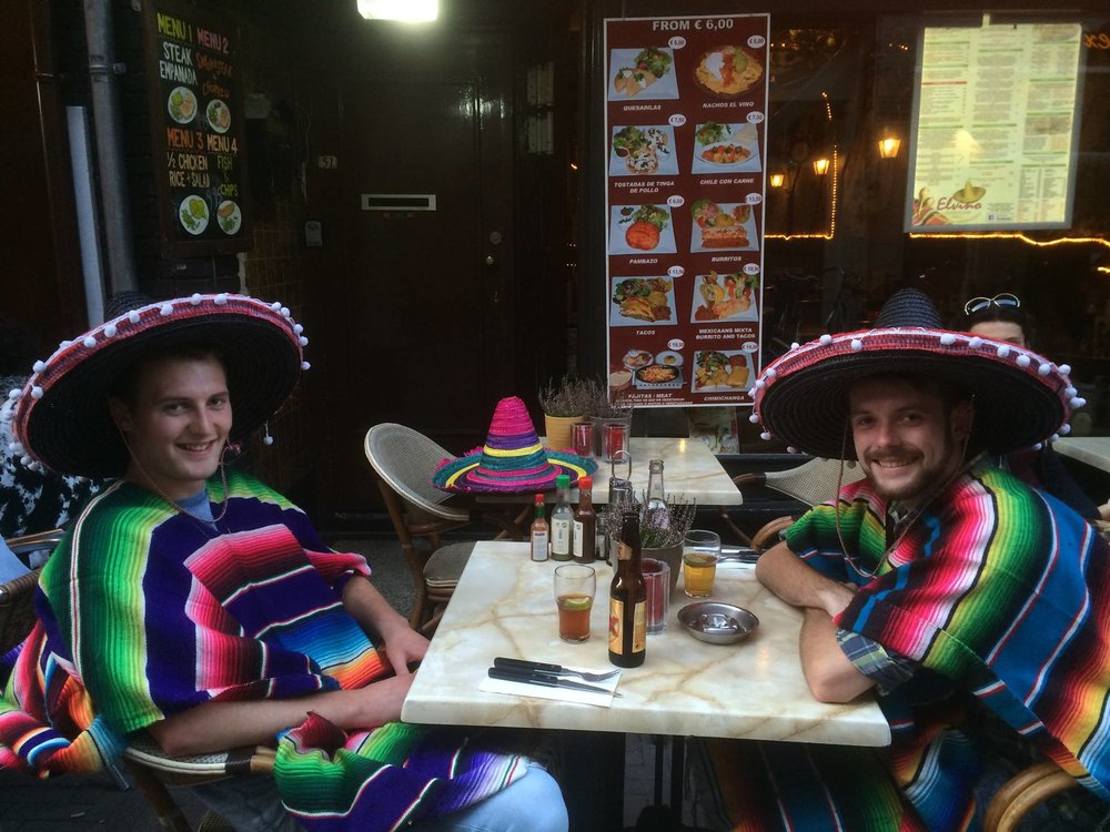 El Vino Mexican in Leidseplein, that was great fun. http://www.elvinoamsterdam.com/