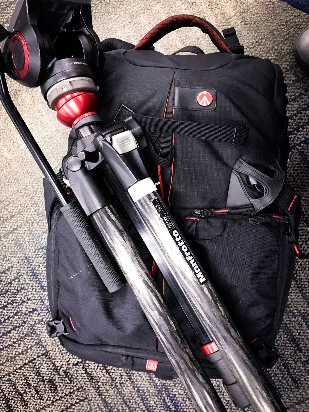 The Manfrotto Pro Light 35 backpack stored all the necessary equipment for the event filming and editing.
